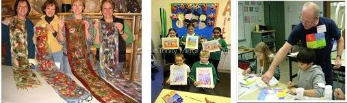 Staff and students with their artwork
