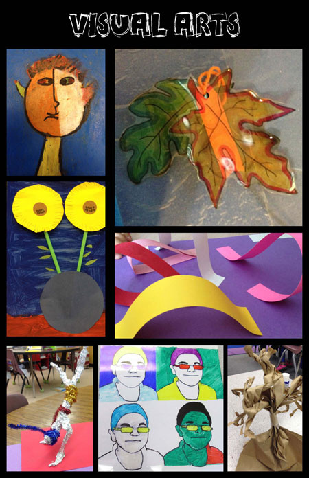 collage of student art work