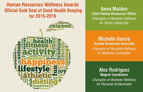 Human Resources Wellness awards: Official Gold Seal of Good Health Keeping for 2015-2016. Anna Maiden, Chief Human Resource Officer. Champion of Worksite Wellness for Senior Leadership, Michelle Garcia, Human Resources Associate. Champion of Worksite Wellness for Wellness Committee, Alex Rodriguez, Magnet Coordinator. Champion of Worksite Wellness for Personal Achievement.