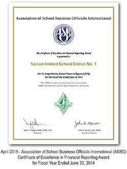 Association of School Business Officials International (ASBO) Certificate of Excellence in Financial Reporting Award for Fiscal Year Ended June 30, 2014