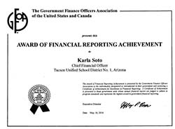 Government Finance Officers Association Award of Financial Reporting Achivement