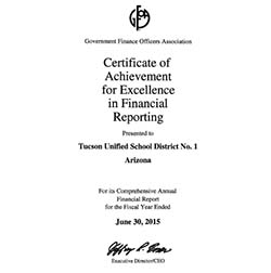 Government Finance Officers Association Certificate of Excellence in Financial Reporting for Fiscal Year Ended June 30, 2015