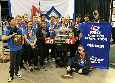 Photo of winning robotics team