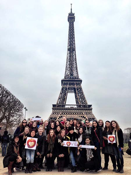 Team Paris in front of Eiffel Tower