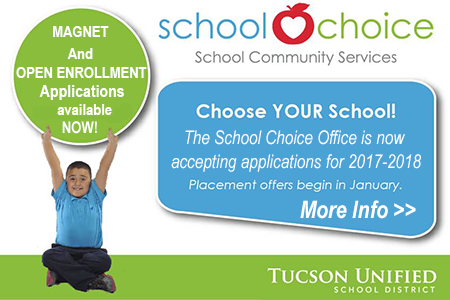 Image with text - magnet and open enrollment applications available now!  Choose your school!  The school choice office is not accepting applications for 2017-2018.  Placement offers begin in January. More Information>>