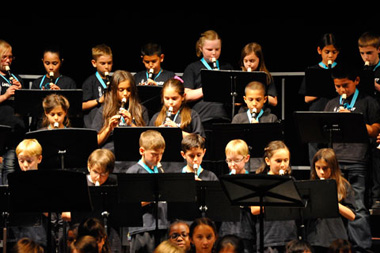 Photo of students playing recorder
