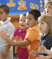 Image of children singing during morning activity