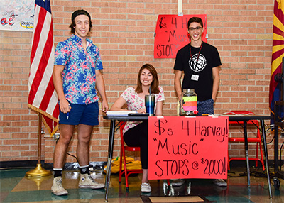 Tucson High students trading music for donations.